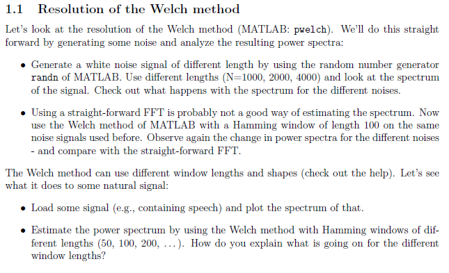 Welch Spectrum Matlab