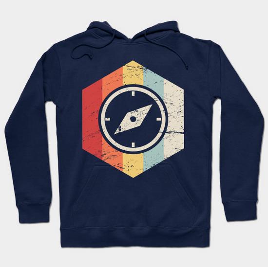 men's navy vintage compass geocache hoodie