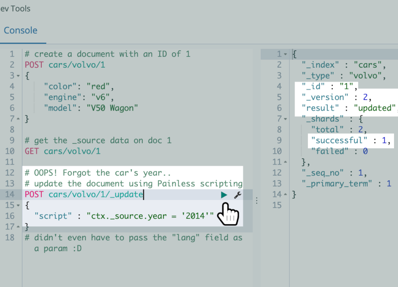 A screenshot of a POST request in Kibana to update an Elasticsearch document using Painless scripting