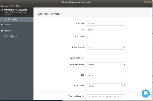 """Starting up a MongoDB Compass Community application, """"Connecting to Host"""""""