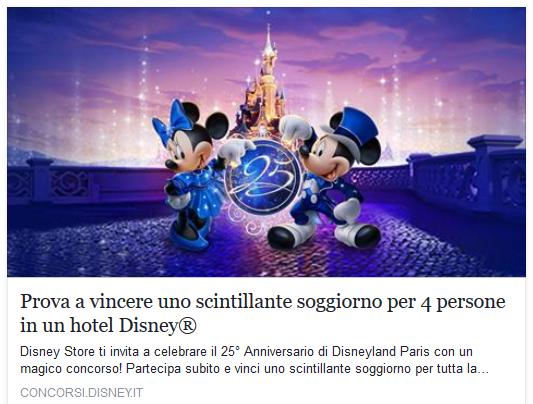 Partecipa subito al concorso Disneyland Paris!