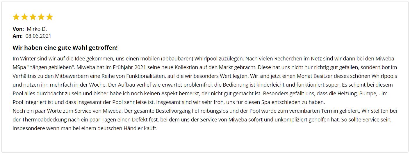 Kundenbewertung zum Miweba MSpa Muse Otium M-OT061 - sehr gut