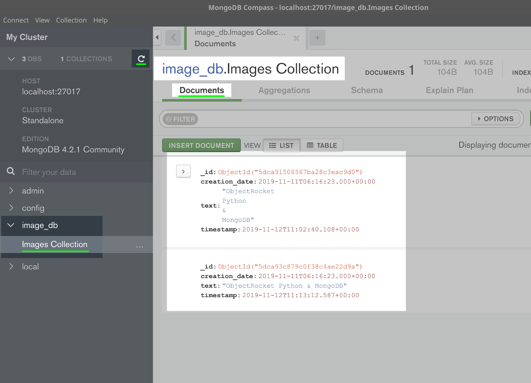 Screenshot of MongoDB Compass returning a document containing the image's text