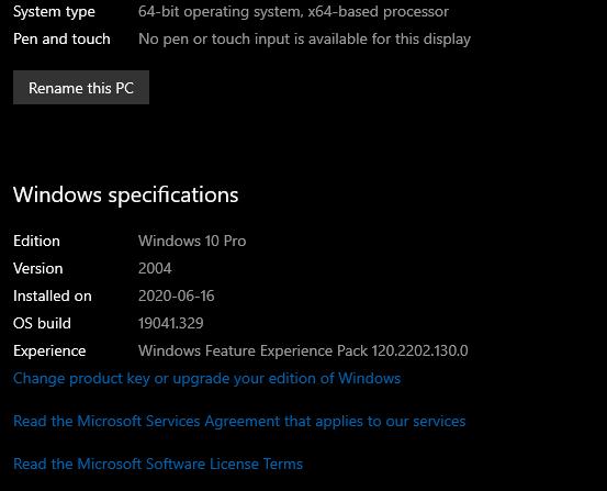 about windows spec