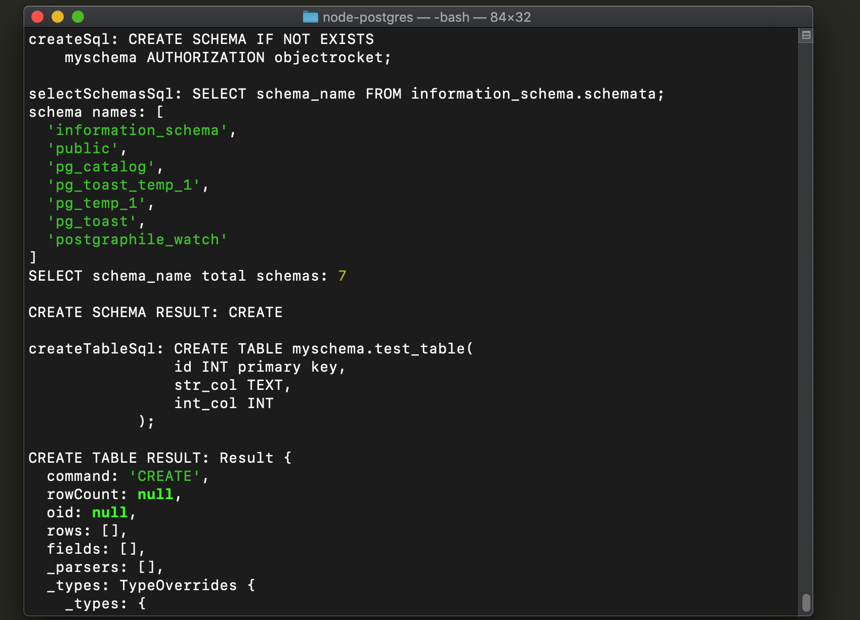 Screenshot of a Node script creating a schema and table for PostgreSQL