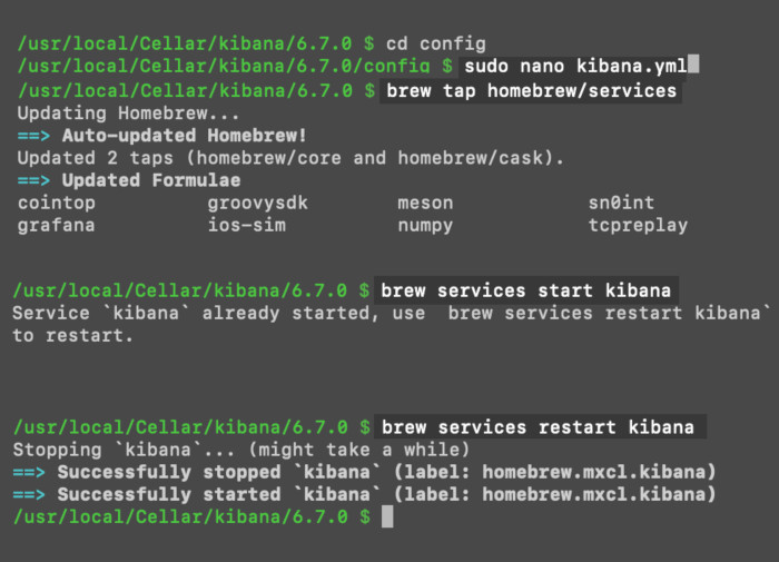 Screenshot of a macOS terminal using the `brew tap`, and `brew restart` commands to start Kibana automatically