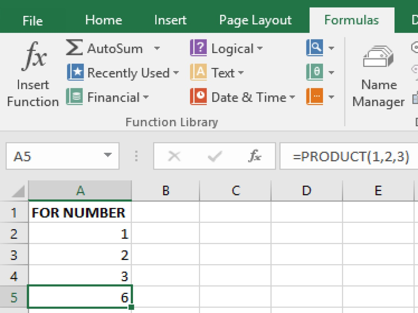 Screenshot of an Excel sample performing a multiply using PRODUCT function for number