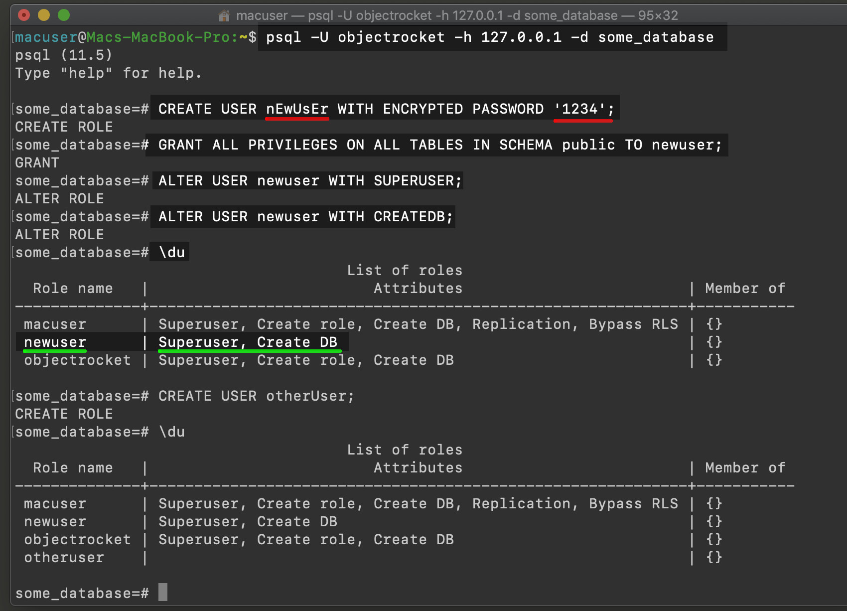 Screenshot of Postgres user role in psql with attributes and privileges