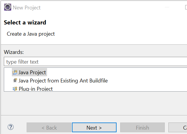 Image shows selecting java project