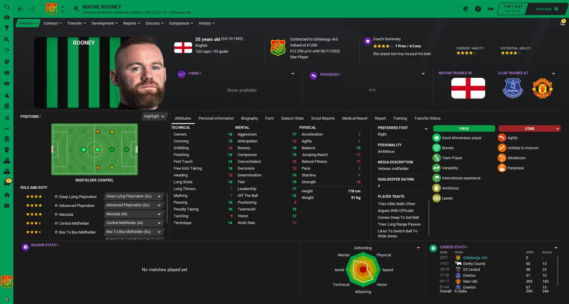 FM21 | Wayne Rooney: Keeping the biggest star fit