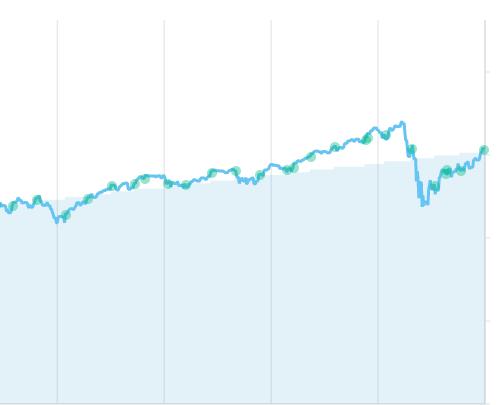 ドルコスト平均法での積立をしていたチャート。面積グラフが投入額、折れ線グラフが運用結果。
