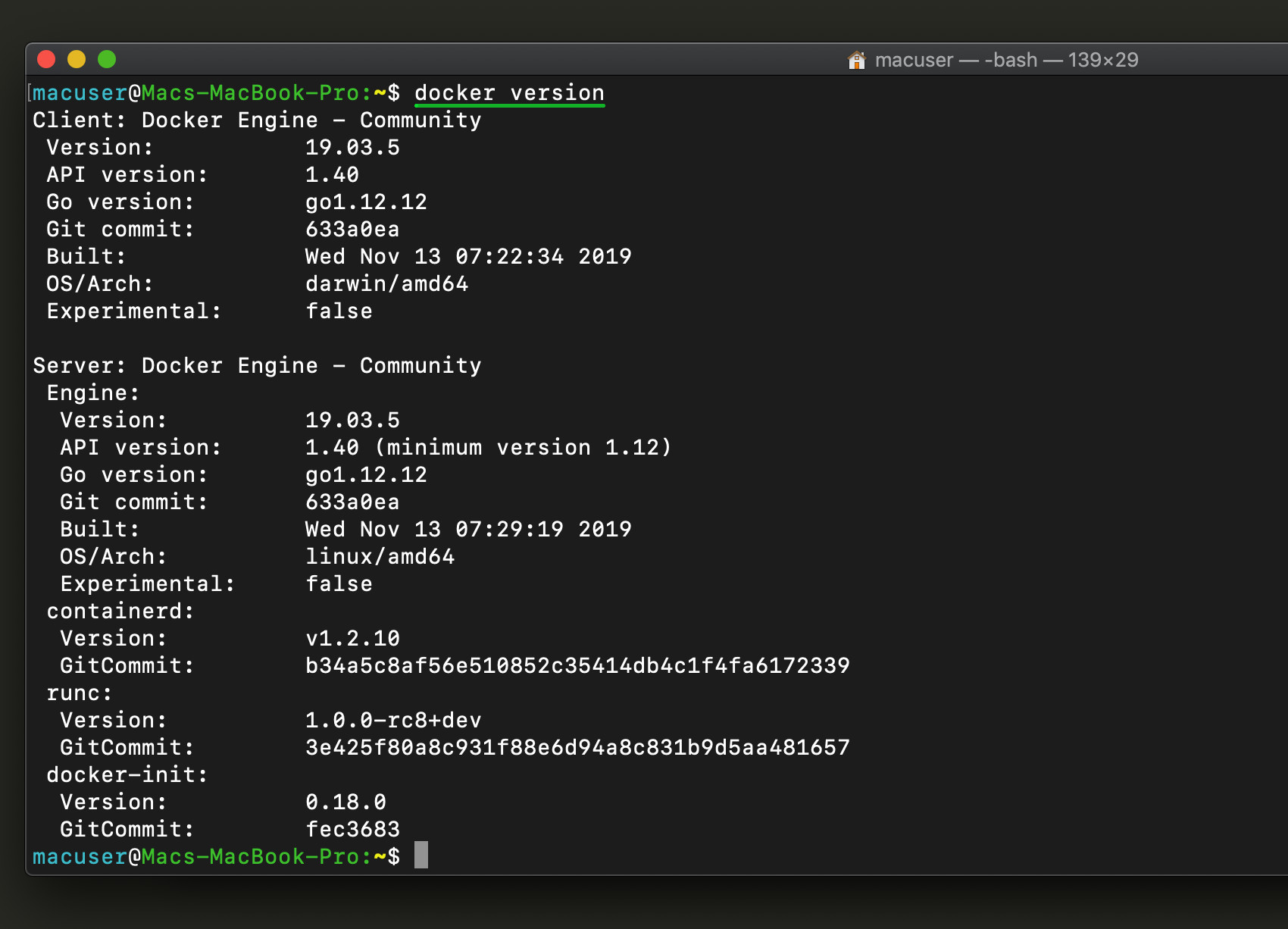 Screenshot of the Docker version for Redis and Docker