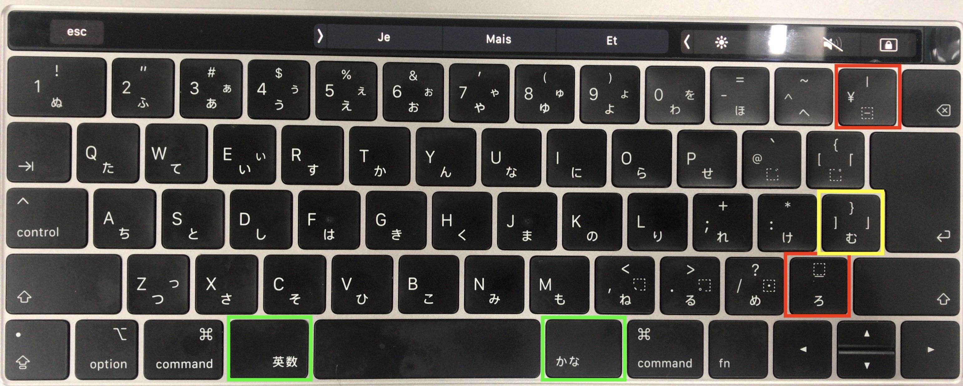Image n°1: Layout physique sur mon clavier Japonais JIS
