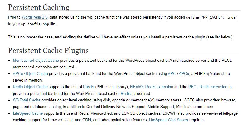 Wordpress Caching Plugins List