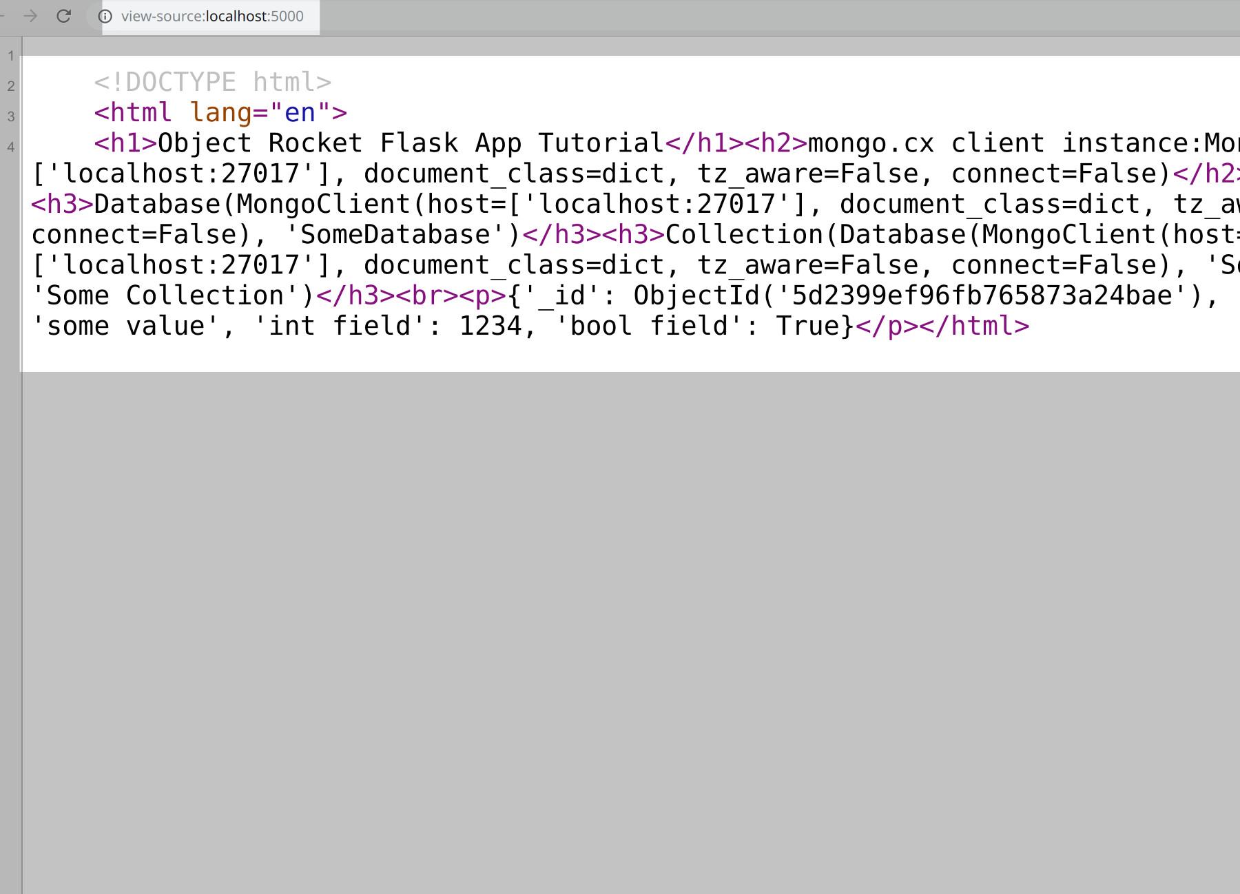 Screenshot of the Flask web application's HTML page source of MongoDB data