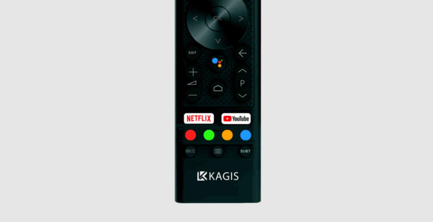 Fernbedienung des KAGIS 55 Zoll 4K UHD Smart                                     TV - Netflix, Prime Video, Google Play & Youtube Schnellstart Tasten, Android Sprachassistent Taste - TESTBERICHT