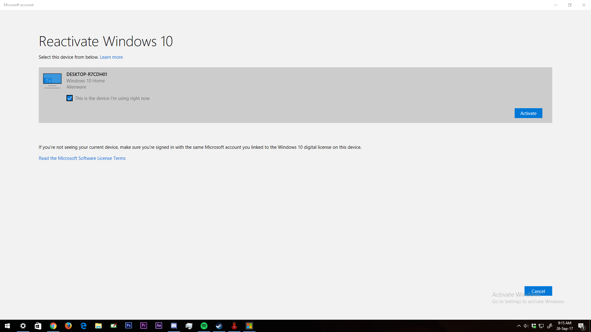 Cant activate windows 10 on my computer microsoft community i tried activating it but something else pops up and says we cant reactivate windows on this device try again later ccuart Image collections