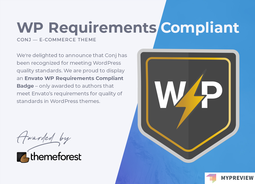 Conj WooCommerce theme WP Requirements Compliant