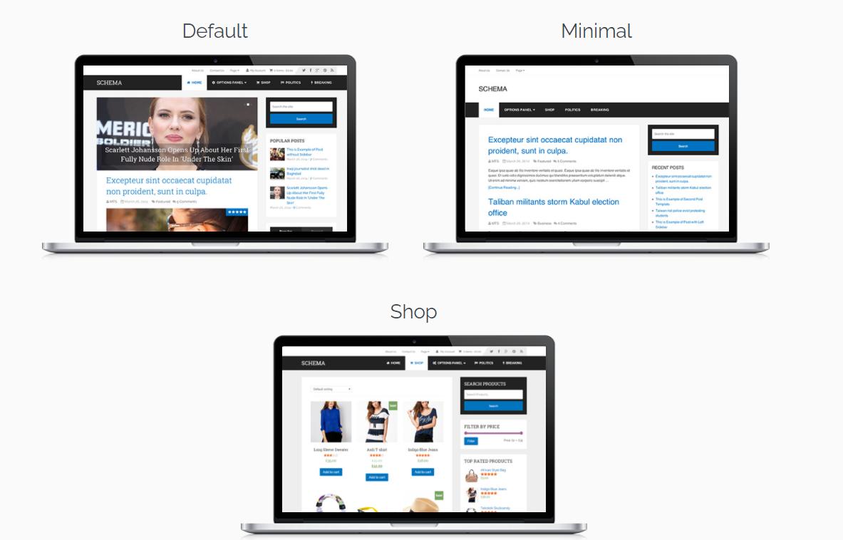 Schema theme lite demos de la plantilla para crear web automáticas