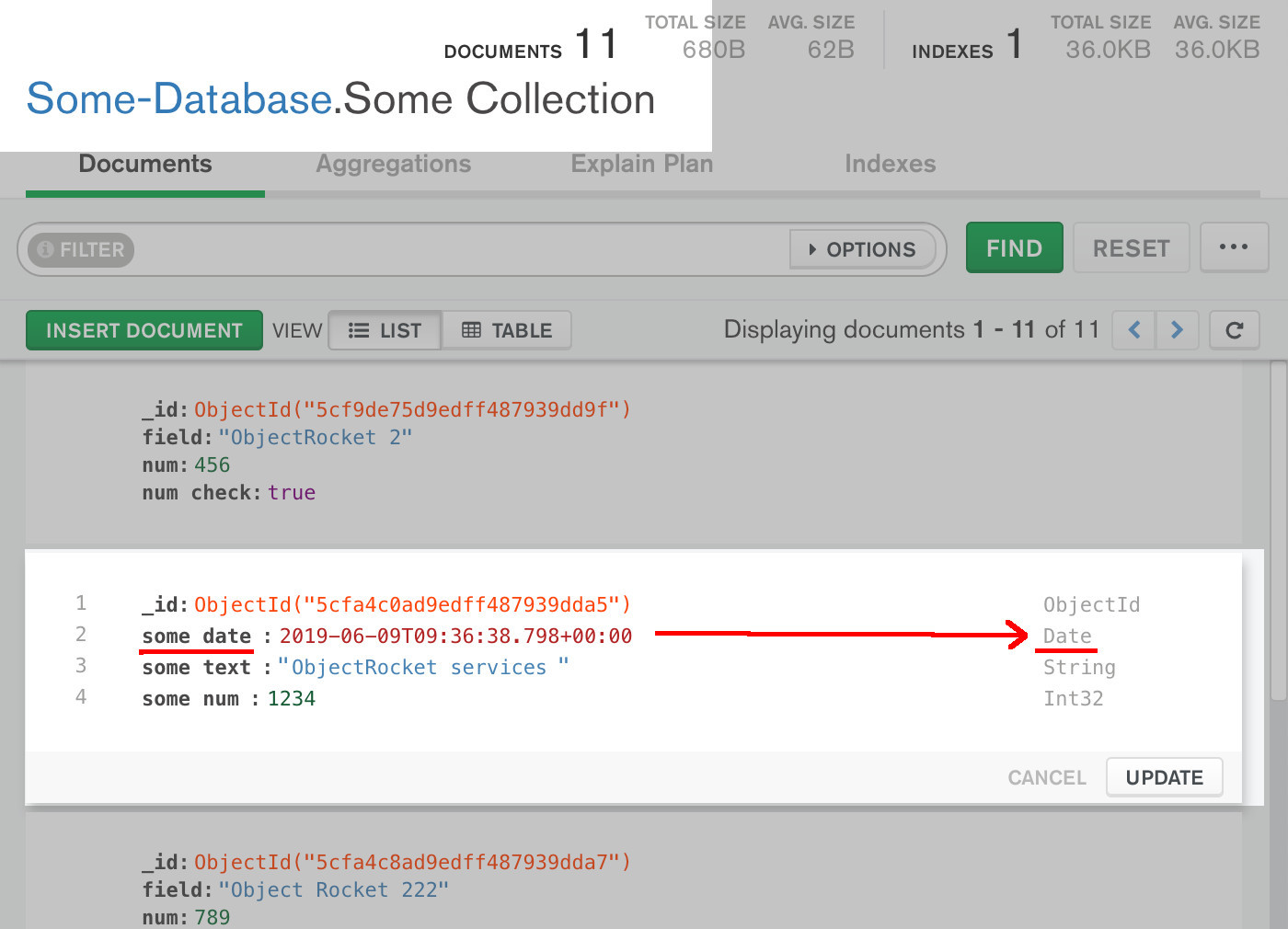 Screenshot of MongoDB Compass UI verifying that a document had its data replaced by the PyMongo driver