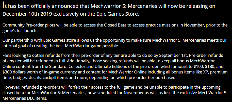 Mechwarrior 5: Mercenaries se va a nuestra querida EPIC GAME
