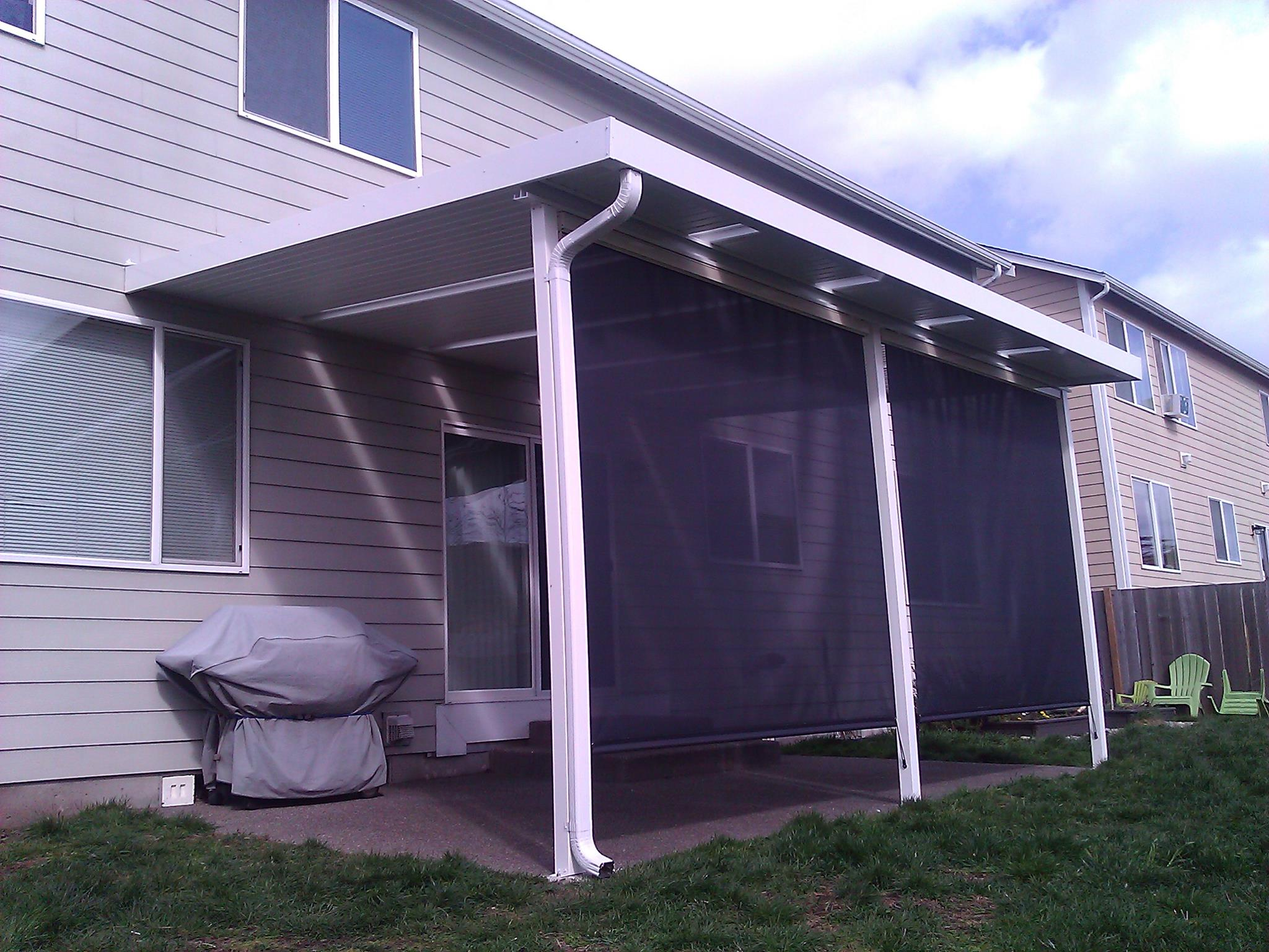 Patio cover with privacy screen built in Thurston County, Washington.