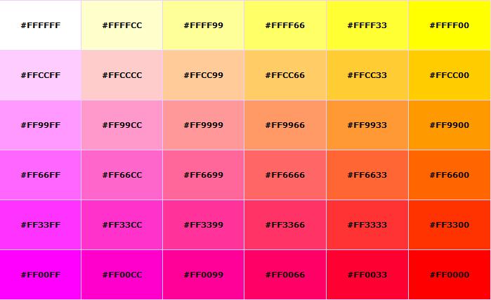 recipe: html color codes list [14]