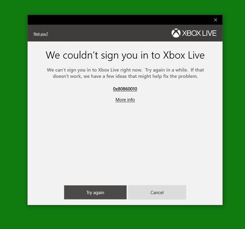 cant connect to xbox live windows 10