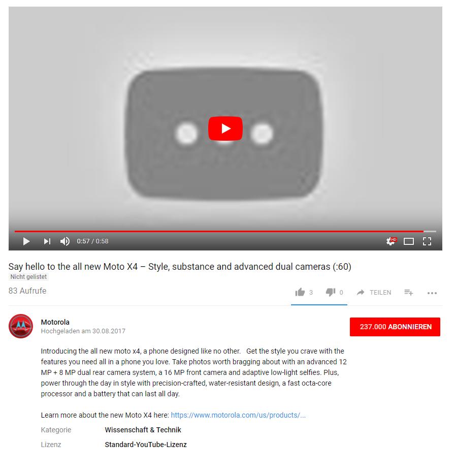 Offizielles aber wieder herausgenommenes Moto X4 Video auf Youtube