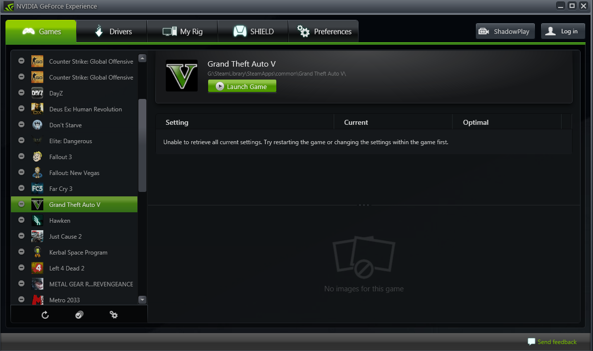GeForce Experience is Unable to retrieve current settings for all