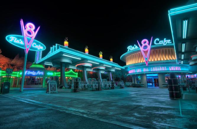 retro-futuristic vibe of this cafe