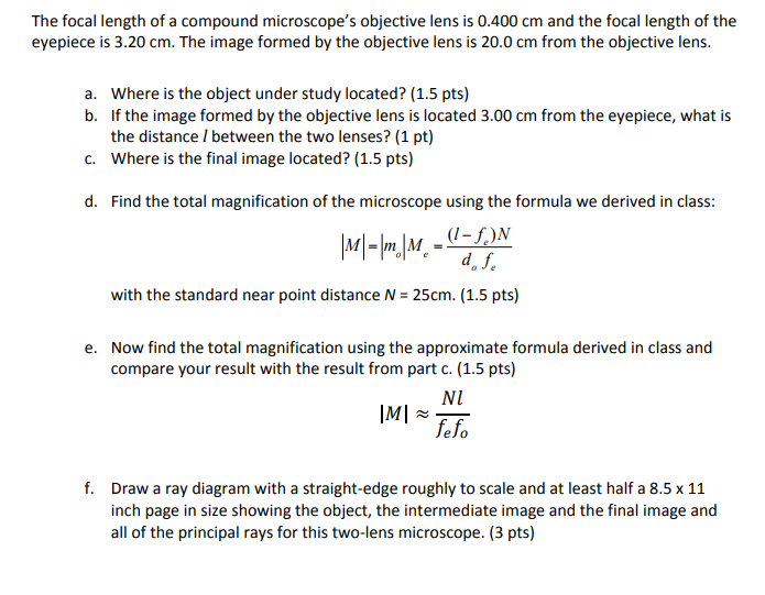 Solved: The Focal Length Of A Compound Microscope's Object
