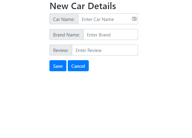 Image shows the form for adding new car details