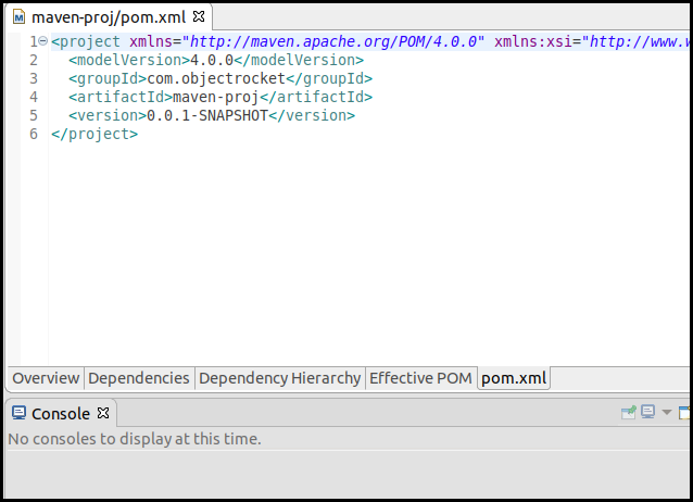 "Select the ""pom.xm"" tab to see the xml format of the pom.xml"