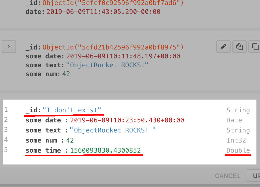 Screenshot of MongoDB Compass UI verifying that a document was upserted by replace_one with PyMongo