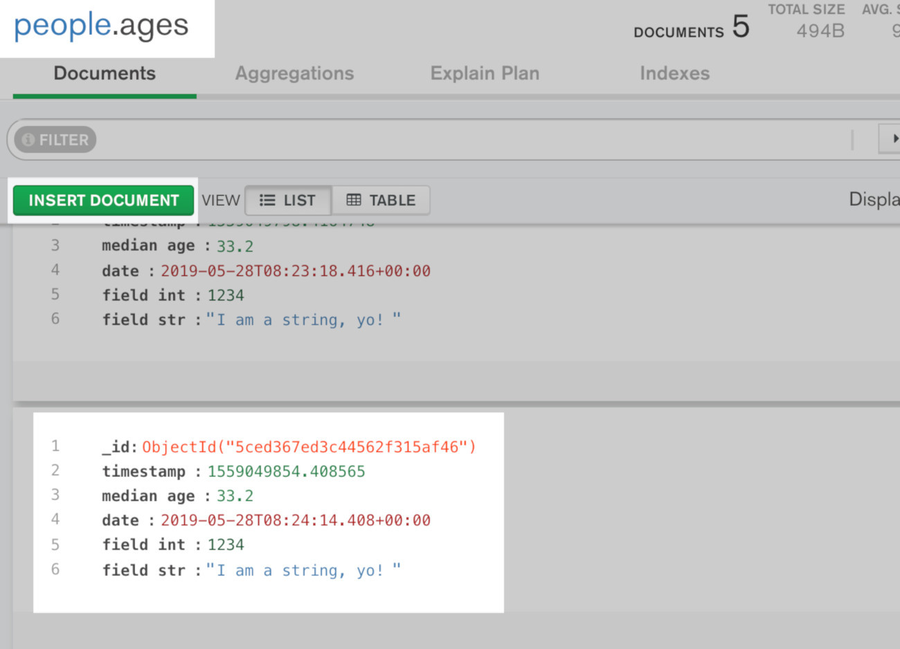 Screenshot of MongoDB Compass application getting a document after it was inserted using PyMongo in Python