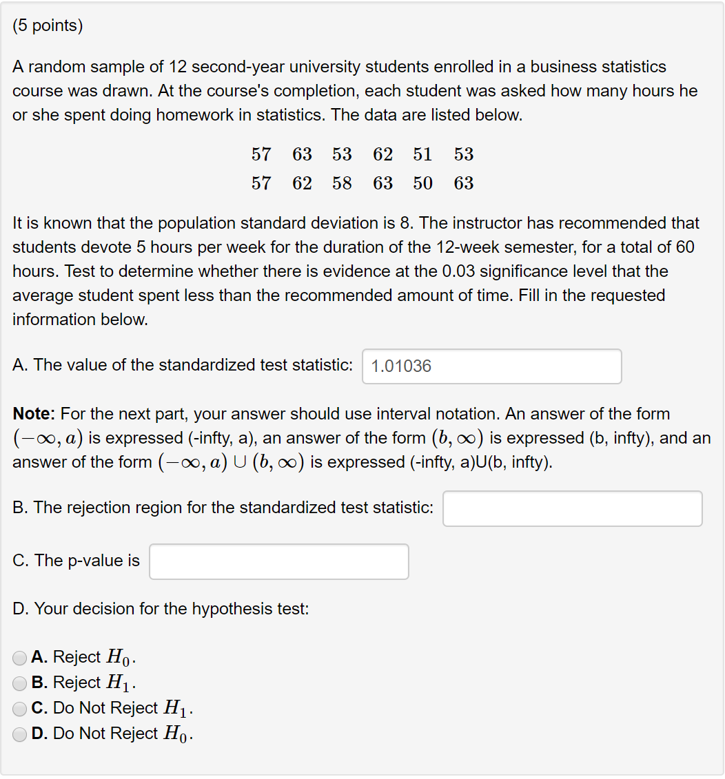 Solved: (5 Points) A Random Sample Of 12 Second-year Unive