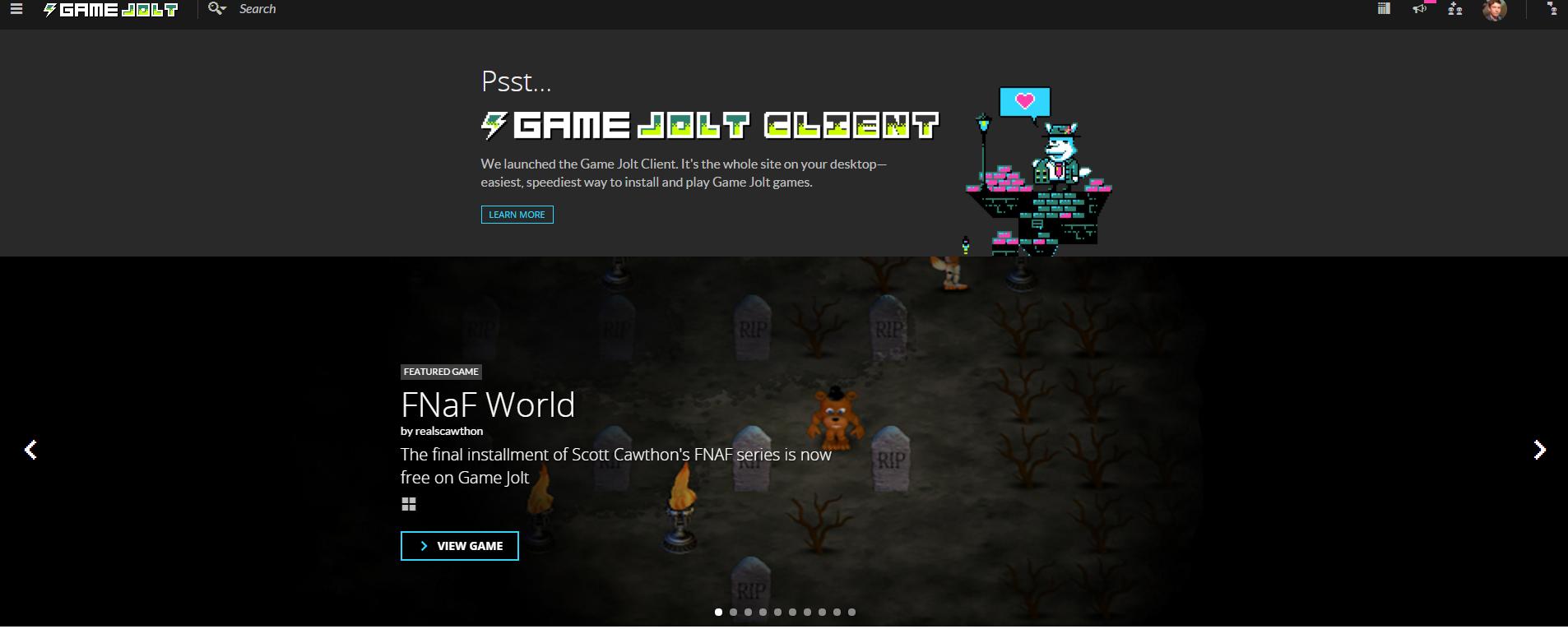 fnaf world is on the frontpage of gamejolt fivenightsatfreddys