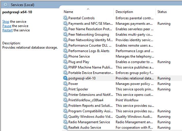 Restarting PostgreSQL server in a Windows Machine
