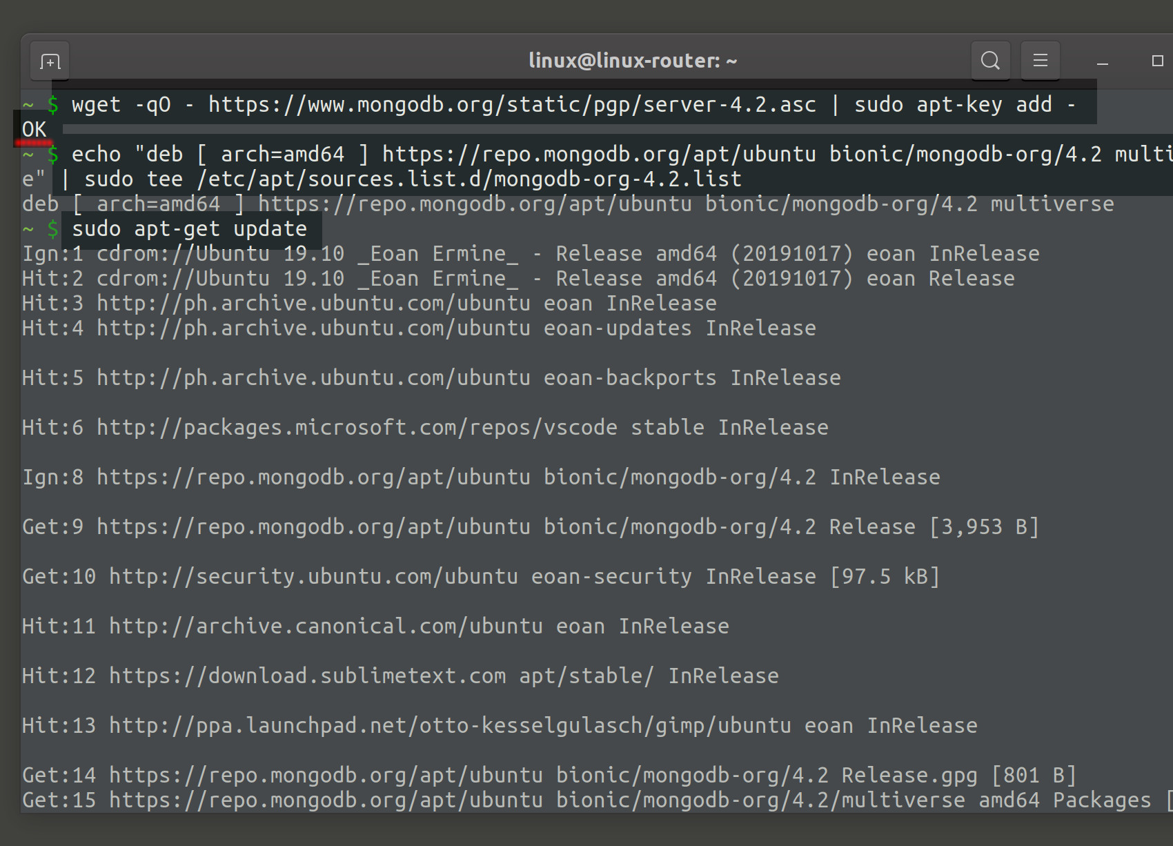 Screenshot of installing MongoDB on Ubuntu for a C# MongoDB project
