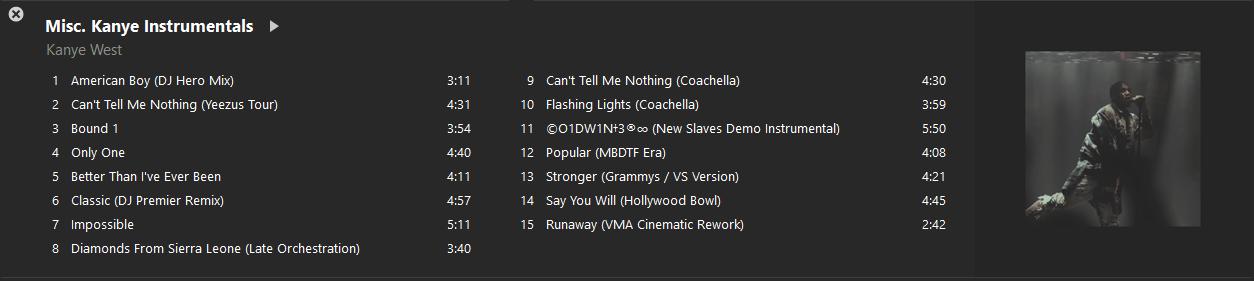 Kanye Resources for Remixers Megathread Instrumentals