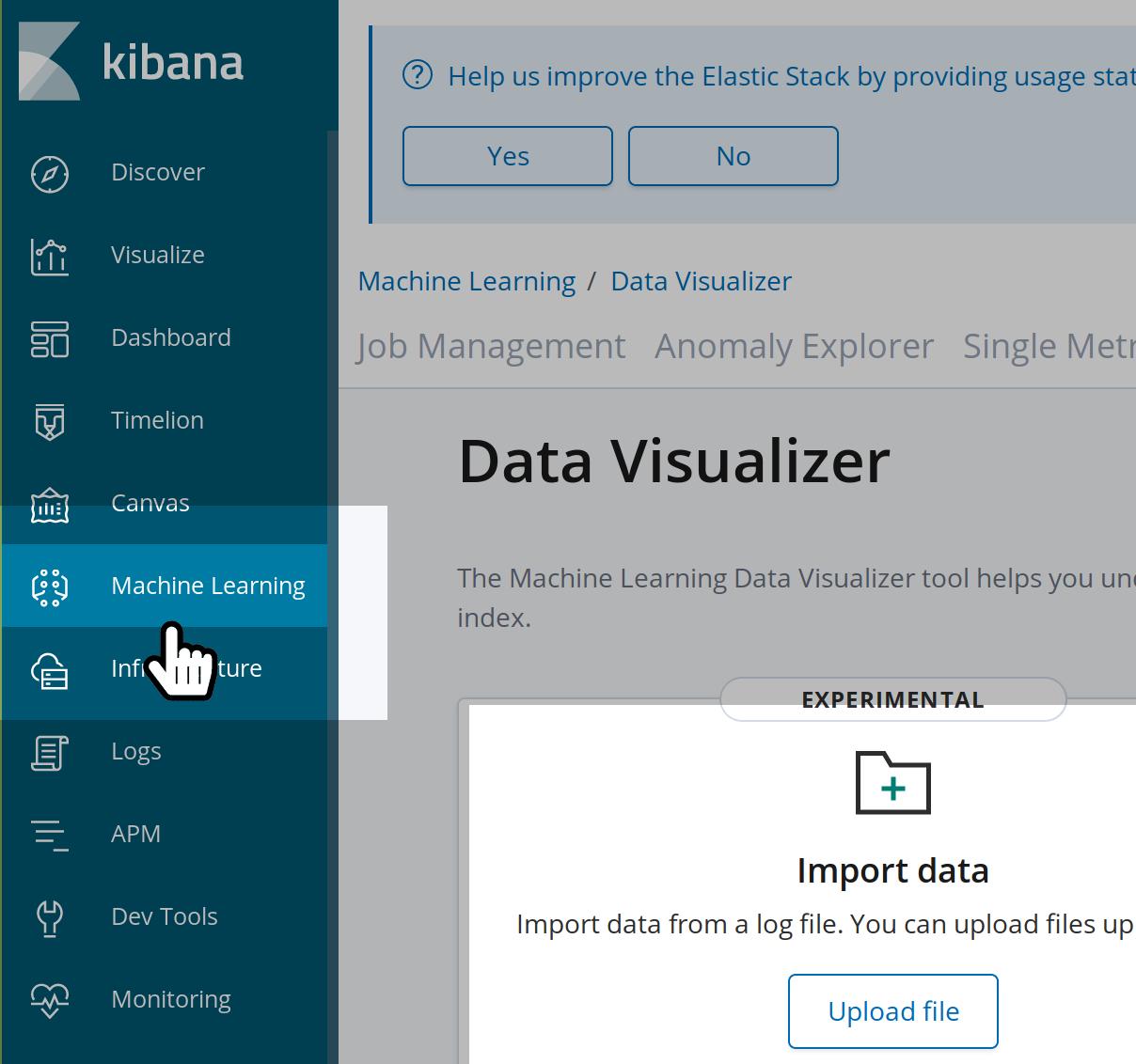 Uploading CSV data in the Kibana UI