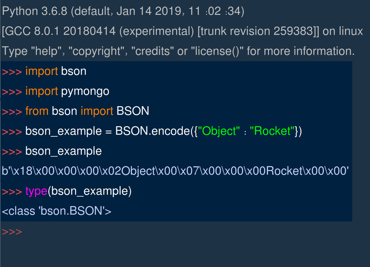 Screenshot of Python IDLE importing BSON and PyMongo libraries
