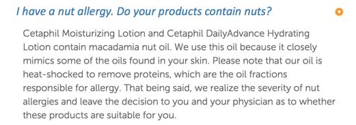 セタフィルはナッツアレルギーの人は使用しない