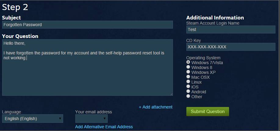 Recover locked steam account