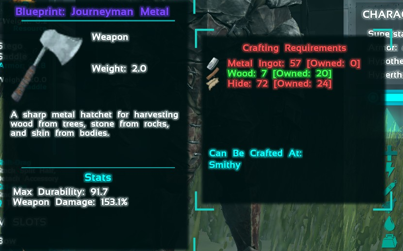 Found a nice Epic Metal Hatchet Blueprint! : playark