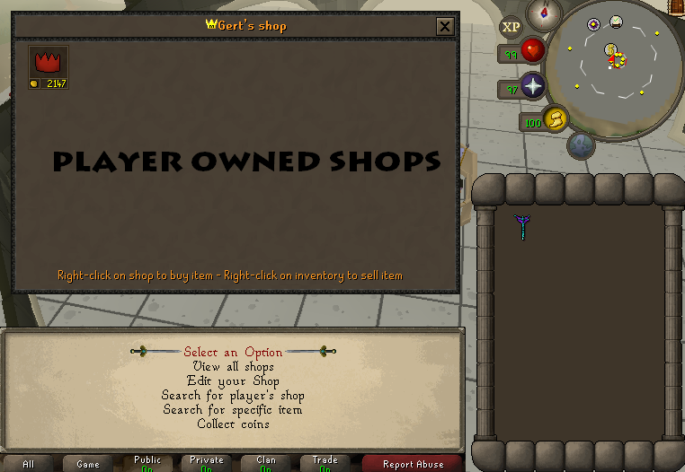 Player owned shops