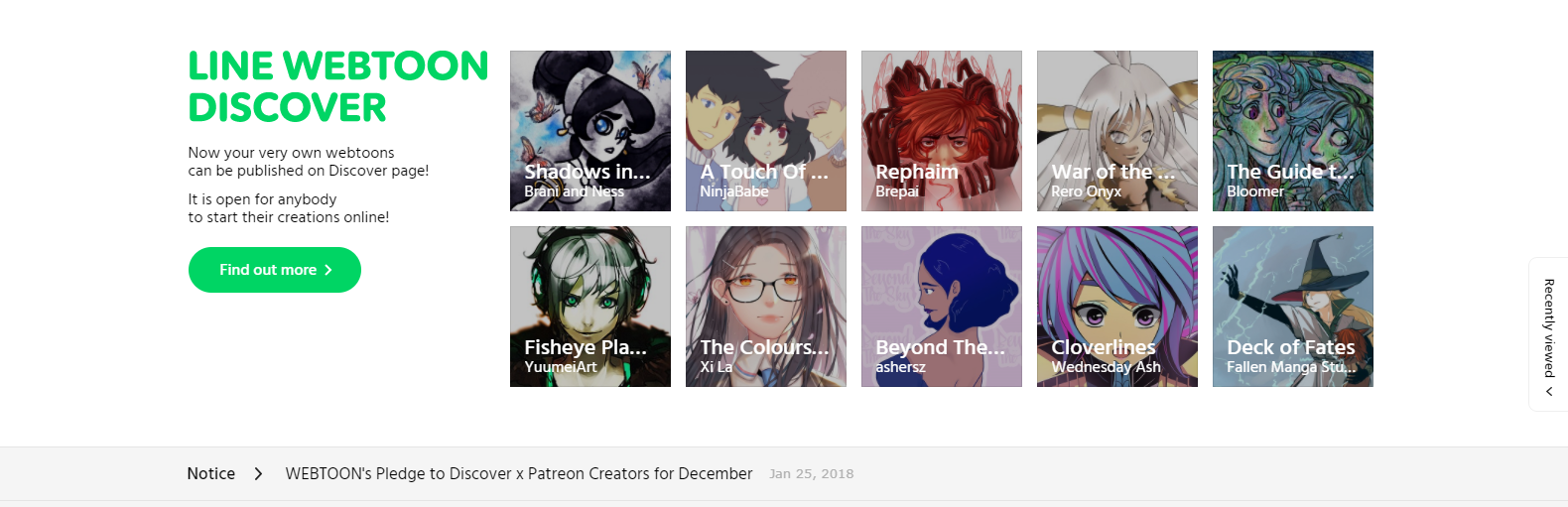 How long do comics on Webtoon Recommended Titles last