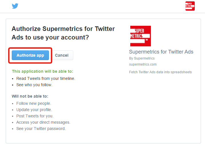 authorize in Twitter Ads