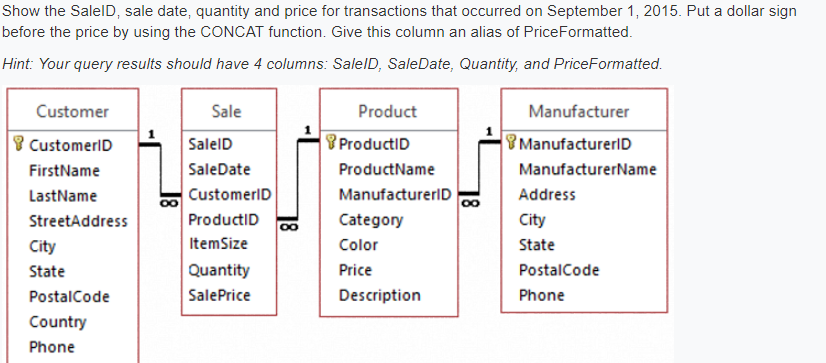 Solved: Show The SalelD, Sale Date, Quantity And Price For
